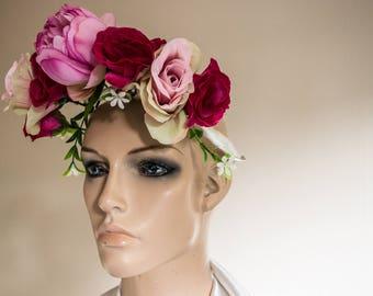 Pink Peony and Rose Headdress