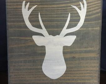 Deer Head Sign Handpainted on Wood - Made to Order