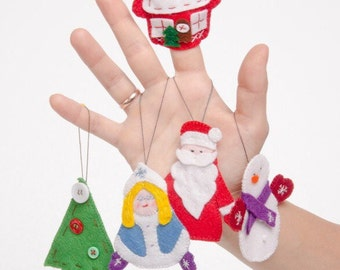 Felt finger puppets and Christmas decorating 2-in 1 / Decoration of Christmas + puppets has fingers in felt