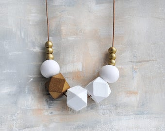 Geometric Necklace, Boho necklace, Statement Necklace, Bohemian Jewelry, Handmade necklace, Wooden necklace Hexagon