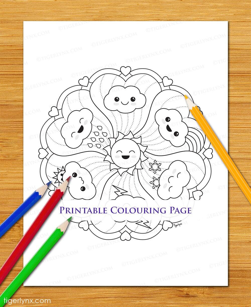 Cute Kawaii nuages Page à colorier Mandala imprimer dessin
