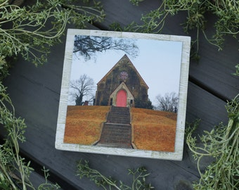 Country Church Canvas Photo Wood Display