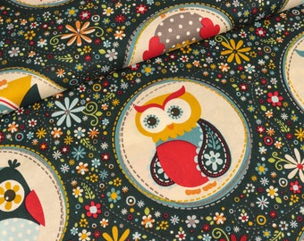 Riley Blake nesting owls blue stained cotton (13.90 EUR / meter)