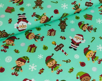 Cotton Jersey Christmas at the North Pole mint/gorgeous (18.90 EUR / meter)
