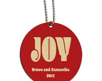Christmas Joy Red Personalized Round Wood Id Tag Luggage Card Suitcase