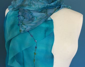 Turquoise Blue Cascading Silk Scarf; Waterfall Silk Scarf, Special Occasion Scarf, Special Gift Scarf, Gift Scarf, Birthday Scarf