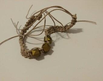 Handmade Hemp bracelet with 3 cube beads