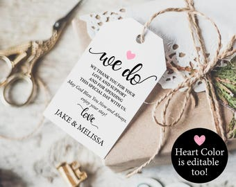 Thank You Tag - Wedding Thank You Tags - Gift Tags - Heart color editable - Wedding Tags - Downloadable wedding #WDH8121096