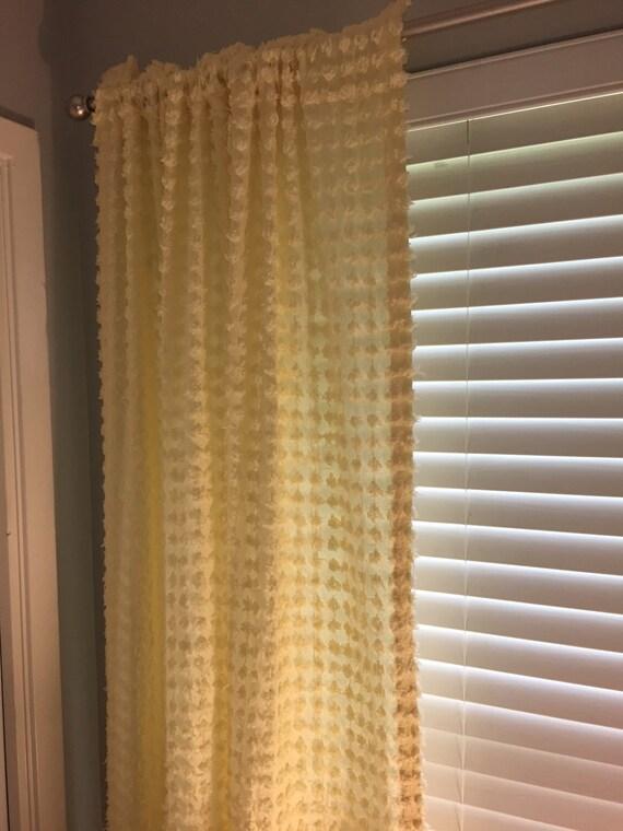 Vintage Popcorn Chenille Curtain Panel Pair Vintage