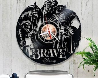 Brave Vinyl Clock| Disney Wall Clock| Vinyl Record Clock 2/5/3| Horloge Disney| Kids Clock| Record Wall Clock| Wall Vinyl Clock