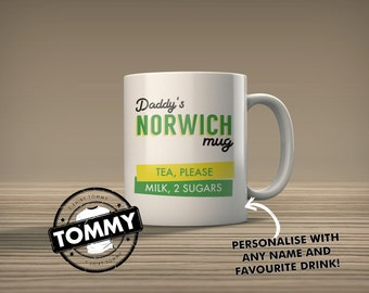 Personalised Norwich Canaries Mug - Add Your own Favourite Drink Details