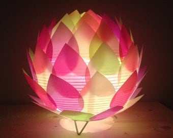 Lamp table/night light multicolored paper lotus flower
