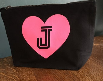 Personailsed Initial in a Heart Small Make Up Bag