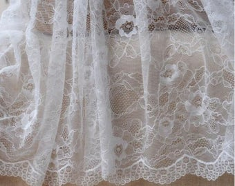 "55"" Width Premium Wedding Floral Embroidery Lace by Yard (White)"