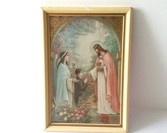 Old wood picture frame with religious print * vintage religious collectible * religious wall decoration * catholic art