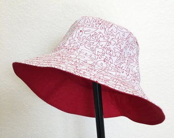 Valentine Red & White Hearts Bucket Style Sun Hat for Babies and Kids!