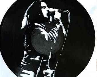 Eddie Vedder of Pearl Jam Hand Cut into Upcycled Vinyl Record Wall Art