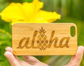 Aloha Engraved Hawaii Themed iPhone 6S, 6S Plus, 7, 7 Plus Phone Cases. Free Shipping. Made In Hawaii. Aloha