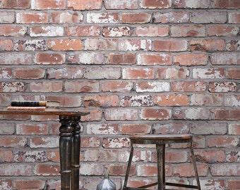 Kirklees Red, Orange Photo Realistic Brick Effect Wallpaper