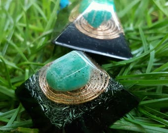 Amazonite Warrior Energy Pyramid Necklace