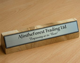 Premium Executive Hard Wood Personalised Desk Name Plate, Plaque, Sign, Engraved in Maple