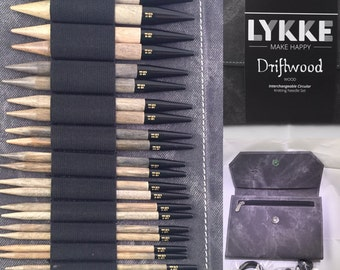 Lykke interchangeable driftwood needle set -grey case