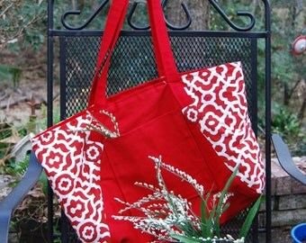 Red and White canvas shopping bag