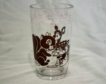 Swanky Swigs Childrens Glass with Squirrel and Deer, Vintage Hazel Atlas Glass Children's Cup, Woodland Animals, 1950s Kitschy Kitchen 329