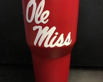 Ole Miss Rebels white script on red Ozark Trail 20 oz & 30 oz tumbler NEW Game day ready Grove ready