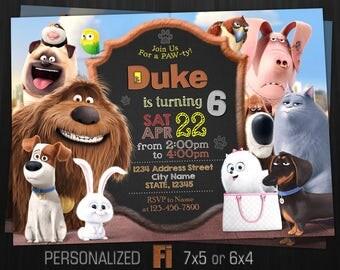 The Secret Life of Pets Invitation, The Secret Life of Pets Birthday Party, Dog Max Duke Gidget Mel, Personalized, Printable, Digital File