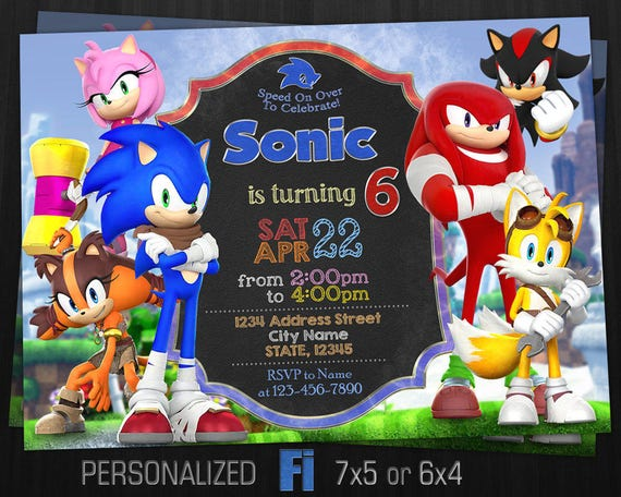 Sonic Invitation Sonic Birthday Party Sonic Knuckles