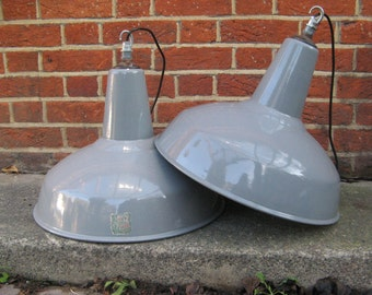 2x Benjamin Electric 45cm Wide Grey Enamel Lamp Shades