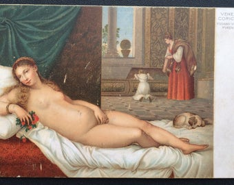 c.1910s VENUS Lying Abed with Puppy. Artist TITIAN. Near Mint. Thick  sc 1 st  Etsy & c.1930 Artist Postcard VENUS Rubens Blonde Hair Reclining islam-shia.org