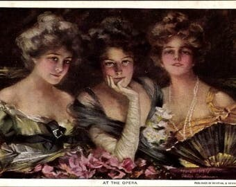 """Mint~ Artist PC Philip Boileau 1909 """"At the Opera"""" Three Ladies in their Finery; FREE Shipping! Dated and Signed by the Artist; Pub. R&N"""
