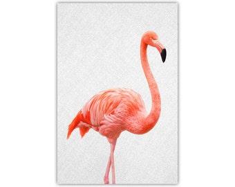 Flamingo, Bird Print, Pink Decor, Mid Century Wall Decor, Photographic, Tropical, Canvas, Large Poster