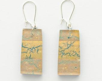Drop, Dangle Earrings   | Gold, Bronze, Blue | Reversible | Glass Jewelry