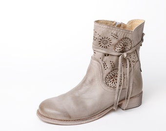 Leather women's booties, leather womens ankle boots grey women's booties, floral decorated ankle boots, boho boots, laser cut leather shoes