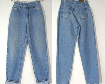 80s Lee Jeans 28 / 6-8,  Light Fade High Waist , 1980s Tapered Leg,  Hipster Grunge Mom Jeans 28 x 31