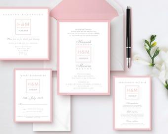 Initial wedding invitation suite, Classic invitations, Pink wedding invitations, Modern Invitations, Elegant wedding invitations,