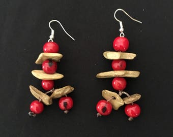 Red Acai Earrings / Organic Jewelry /  Acai Seed Jewelry / Acai Earrings / Red Berry / Seed Jewelry