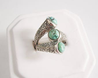 Sterling Silver Vintage Natural Turquoise Textured Ring Size 9