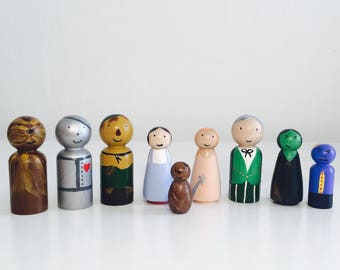 The Wizard Of Oz - Wooden Peg Dolls - Hand Painted - Waldorf Toys - Gifts - Wooden Dolls - Waldorf Inspired- Homemade - Over the Rainbow