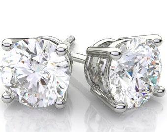 1.10 Round Brilliant Cut Diamond Stud Earrings in 18k White Gold