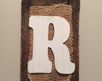 Rustic reclaimed plank with burlap and lettering
