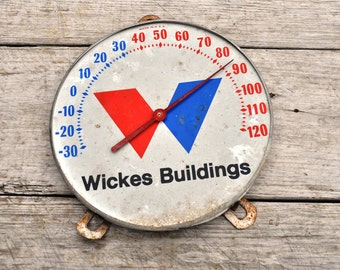 """Vintage Outdoor Farm Thermometer """"Wickes Buildings"""""""