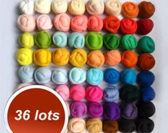 36 pc  Colors Wool Fibre Roving Sewing For Needle Felting Hand Dyed Spinning DIY Fun Doll Needlework Raw Wool