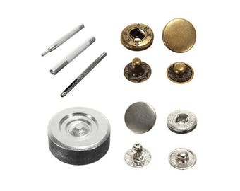 30 sets Metal No Sewing Snap Button Press Stud Leathercraft Leather Bag Coat Clothes Rapid Rivet Fastener Popper DIY