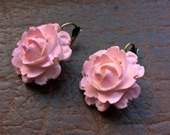 Antique 40's Baby Pink Matte Plastic Dangle Rose Earrings