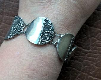 Vintage 925 Sterling Silver Round Links Bracelet
