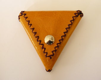 Leather Pouch Bag Leather Coin Puoch Leather Coin Purse Small Triangle Money Purse Small Leather Pouch Hand Crafted Leather